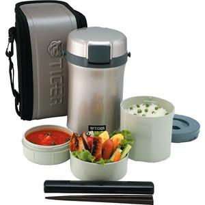Термос Tiger для еды с контейнерами LWU-B200 Warm Silver термос для еды с контейнерами tiger lwu a171 charcoal gray 0 61л 0 34л 0 27л палочки для еды в чехле регулируемый наплечный ремень