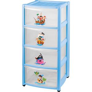 цена на Комод детский Бытпласт на колесах 4 ящика (голубой) (431342502)