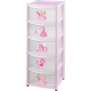 Комод детский Бытпласт на колесах 5 ящиков (розовый) (43134290597) цена и фото