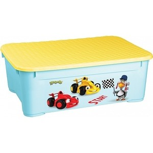 Ящик для игрушек Бытпласт 555х390х190 мм с аппликацией (голубой) (431377802)