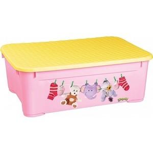 Ящик для игрушек Бытпласт 555х390х190 мм с аппликацией (розовый) (431377805) фото