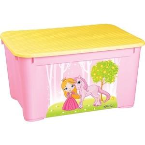 Ящик для игрушек Бытпласт 555х390х290 мм с аппликацией (розовый) (43137760597)