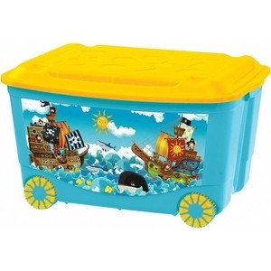 Ящик для игрушек Бытпласт на колесах 580х390х335 мм с аппликацией (голубой) (431380902)