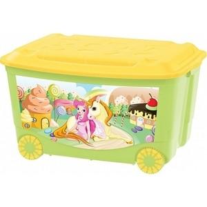Ящик для игрушек Бытпласт на колесах 580х390х335 мм с аппликацией (зеленый) (431380909)