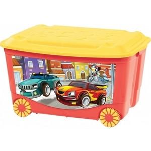 Ящик для игрушек Бытпласт на колесах 580х390х335 мм с аппликацией (красный) (431380904)