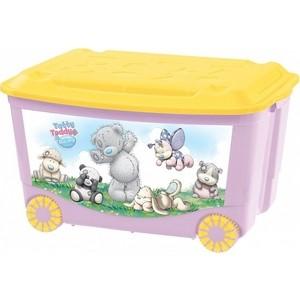 Ящик для игрушек Бытпласт на колесах с аппликацией me to you 580х390х335 мм (розовый) (431304105) набор для волос me to you мишка