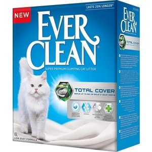 Наполнитель Ever Clean Total Cover с микрогранулами двойного действия комкующийся для кошек 6л