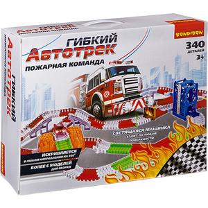 Гибкий автотрек Bondibon ПОЖАРНАЯ КОМАНДА, со светящимися машинками, 340 деталей (ВВ2769)