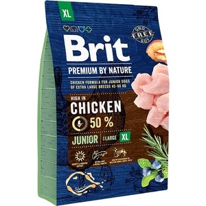 Сухой корм Brit Premium by Nature Junior XL Hight in Chicken с курицей для молодых собак гигантских пород 3кг (526499)
