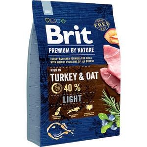 Сухой корм Brit Premium by Nature Ligh Hight in Turkey & Oat с индейкой и овсом для собак всех пород склонных к полноте 3кг (526581)