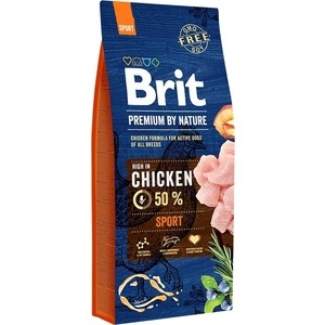 Сухой корм Brit Premium by Nature Sport Hight in Chicken с курицей для активных собак всех пород 15кг (526673)