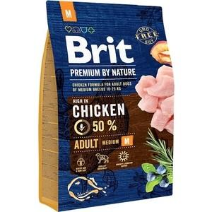 Сухой корм Brit Premium by Nature Adult M Hight in Chicken с курицей для взрослых собак средних пород 3кг (526352) brit brit premium by nature adult m сухой корм для собак средних пород с курицей 3 кг