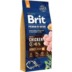 Сухой корм Brit Premium by Nature Adult M Hight in Chicken с курицей для взрослых собак средних пород 15кг (526376) brit brit premium by nature adult m сухой корм для собак средних пород с курицей 3 кг
