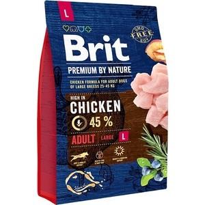 Сухой корм Brit Premium by Nature Adult L Hight in Chicken с курицей для взрослых собак крупных пород 3кг (526444) brit brit premium by nature adult m сухой корм для собак средних пород с курицей 3 кг