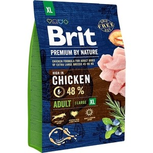 Сухой корм Brit Premium by Nature Adult XL Hight in Chicken с курицей для взрослых собак гигантских пород 3кг (526512) brit brit premium by nature adult m сухой корм для собак средних пород с курицей 3 кг