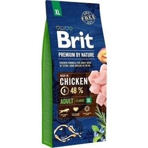 Сухой корм Brit Premium by Nature Adult XL Hight in Chicken с курицей для взрослых собак гигантских пород 15кг (526529) brit brit premium by nature adult m сухой корм для собак средних пород с курицей 3 кг