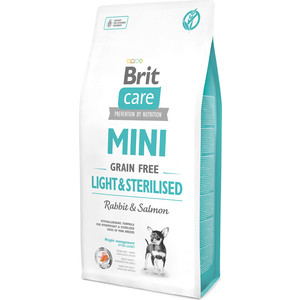 Сухой корм Brit Care MINI Grain-Free Light & Sterilised Rabbit & Salmon беззерновой c кроликом и лососем для собак мелких пород 7кг (521081)