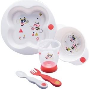 Набор посуды Bebe Confort Sport (тарелка, миска, стаканчик, ложка и вилка) цвет белый 80926