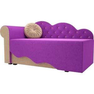 Детская кровать АртМебель Тедди-1 микровельвет фиолетовый/бежевый левый угол