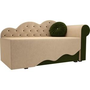 Детская кровать АртМебель Тедди-1 микровельвет бежевый/зеленый правый угол детская кровать артмебель тедди 1 микровельвет бежевый зеленый правый угол