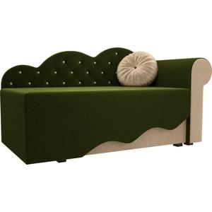 Детская кровать АртМебель Тедди-1 микровельвет зеленый/бежевый правый угол детская кровать артмебель тедди 1 микровельвет бежевый зеленый правый угол