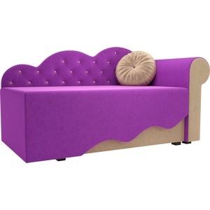 Детская кровать АртМебель Тедди-1 микровельвет фиолетовый/бежевый правый угол детская кровать артмебель тедди 1 микровельвет бежевый зеленый правый угол
