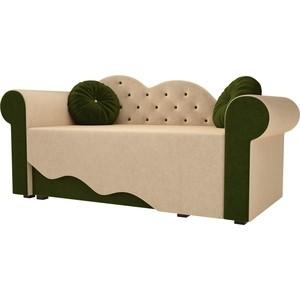 Детская кровать АртМебель Тедди-2 микровельвет бежевый/зеленый левый угол