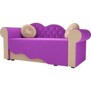 Детская кровать АртМебель Тедди-2 микровельвет фиолетовый/бежевый левый угол