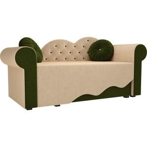 Детская кровать АртМебель Тедди-2 микровельвет бежевый/зеленый правый угол детская кровать артмебель тедди 1 микровельвет бежевый зеленый правый угол