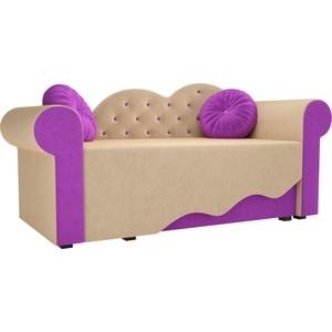 Детская кровать АртМебель Тедди-2 микровельвет бежевый/фиолетовый правый угол детская кровать артмебель тедди 1 микровельвет бежевый зеленый правый угол