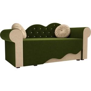 Детская кровать АртМебель Тедди-2 микровельвет зеленый/бежевый правый угол