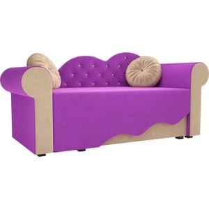 Детская кровать АртМебель Тедди-2 микровельвет фиолетовый/бежевый правый угол детская кровать артмебель тедди 1 микровельвет бежевый зеленый правый угол