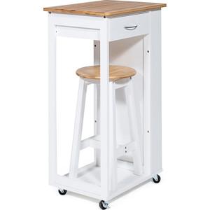 Стол передвижной кухонный с табуретом TetChair mod. JWPE-120802 сосна/прессованный бамбук, белый/натуральный