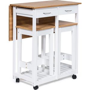 Стол кухонный с табуретом TetChair mod. JWPE-120809 сосна/прессованный бамбук, белый/натуральный
