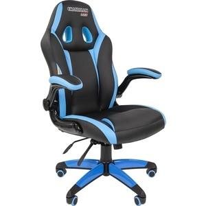 все цены на Офисноекресло Chairman game 15 экопремиум черный/голубой онлайн
