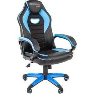 все цены на Офисноекресло Chairman game 16 экопремиум черный/голубой онлайн