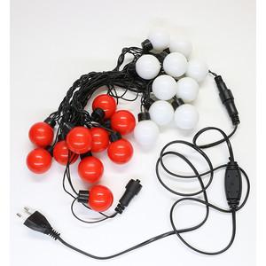 Гирлянда светодиодная Light Шарики-40мм 5м, 220-230V, черн. пр. красно-белые