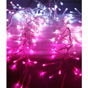 Light Супер бахрома с эффектом бегущий огонь 1,75x0,4м, 24V, прозр. пр., белый-розовый