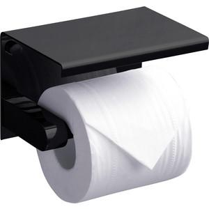 Держатель туалетной бумаги Rush Edge с полкой для телефона, черный матовый (ED77141 Black)