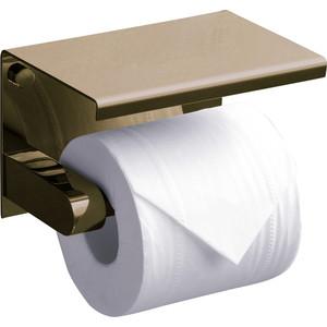 Держатель туалетной бумаги Rush Edge с полкой для телефона, светлая бронза (ED77141 Bronze)