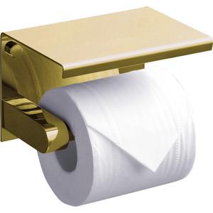 Держатель туалетной бумаги Rush Edge с полкой для телефона, золото (ED77141 Gold)