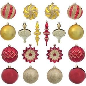 Набор шаров Snowmen 22шт (шар 8см х 12шт.) красн /золотой цв.