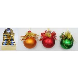 Шар на елку Snowmen ручной работы мат. с композицией из цветов 6см 9шт. в кор. 6цв.