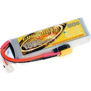 Аккумулятор Fullymax LiPo 11.1V 1800мАч 80C - FB1800XT-3S moseworth rc lipo battery 6s 22 2v 3500mah 40c 80c for rc airplane quadrotor car tank boat li ion batteria akku