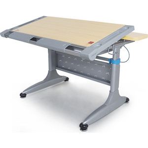 Парта Mealux Comf-Pro Tokyo 2 TH-348 maple с ящиком столешница клен, ножки серые синим