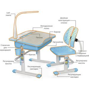 Комплект мебели (столик + стульчик) Mealux EVO-03 BL с лампой столешница клен/пластик голубой