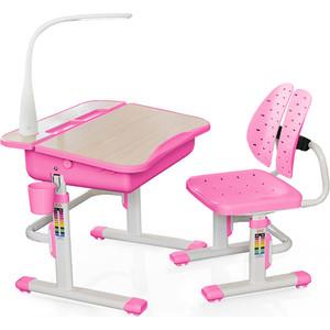 Комплект мебели (столик + стульчик) Mealux EVO-03 PN с лампой столешница клен/пластик розовый