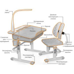 Комплект мебели (столик + стульчик) Mealux EVO-03 G с лампой столешница клен/пластик серый
