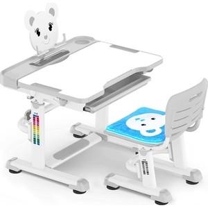 Комплект мебели (столик + стульчик) Mealux BD-04 Teddy grey столешница белая/пластик серый