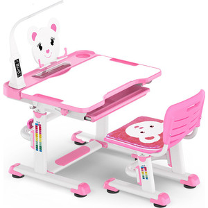 Комплект мебели (столик + стульчик) Mealux BD-04 Teddy pink (с лампой) столешница белая/пластик розовый